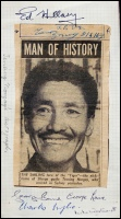 Rare newspaper portrait signed by Tenzing