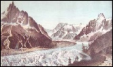 montanvers : mont blanc gravure : monte bianco incisione