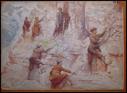 mountain paintings original watercolour of Edward Whymper and swiss guides mountaineering in the Canadian Rockies CPR